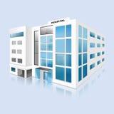 Hospital que construye alto vector detallado con la reflexión Imagen de archivo libre de regalías