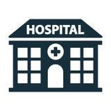 Hospital que construye el icono delantero Fotografía de archivo libre de regalías