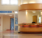 Hospital reception desk. Photo of canterbury hospital reception desk area located in the historic king george the fifth 1937 building Royalty Free Stock Photos