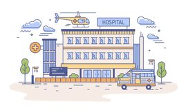 Hospital, rehabilitation center or emergency department building with helicopter landing on top of it and ambulance. Medical institution providing first aid vector illustration