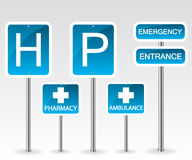 Hospital road sign Stock Photo
