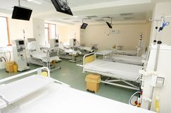Hospital room. Interior of new empty hospital room fully equipped stock photography
