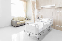 Hospital room with beds and comfortable medical equipped in a mo Stock Photos