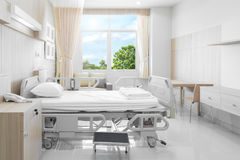 Hospital room with beds and comfortable medical equipped in a mo