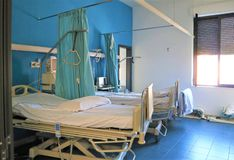 Hospital ward with beds royalty free stock photos