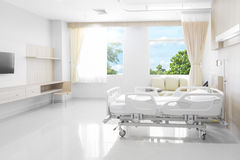 Hospital room with beds and comfortable medical equipped with na Royalty Free Stock Photo