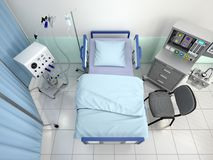 Hospital room with equipment top view. 3d illustration Stock Images
