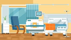 Hospital Room Illustrations. Hospital Room Illustration empty bed and chair Stock Image