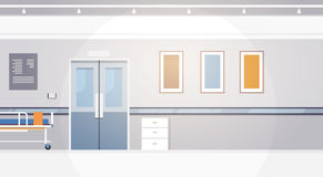 Hospital Room Interior Intensive Therapy Corridor Banner With Copy Space. Flat Vector Illustration Stock Images