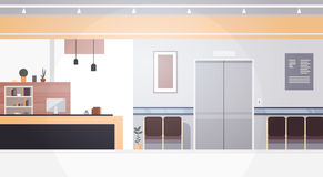 Hospital Room Interior Intensive Therapy Patient Waiting Hall Banner With Copy Space. Flat Vector Illustration Royalty Free Stock Photo