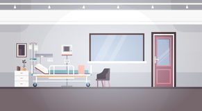 Hospital Room Interior Intensive Therapy Patient Ward Banner With Copy Space. Flat Vector Illustration Stock Photography