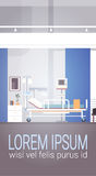 Hospital Room Interior Intensive Therapy Patient Ward Banner With Copy Space. Flat Vector Illustration Stock Image