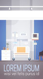 Hospital Room Interior Intensive Therapy Patient Ward Banner With Copy Space. Flat Vector Illustration Stock Photos