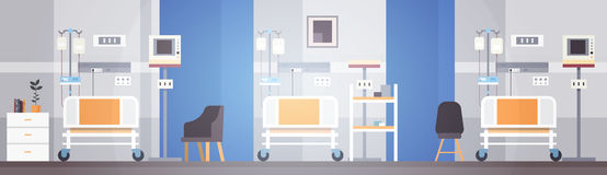 Hospital Room Interior Intensive Therapy Patient Ward Banner With Copy Space. Flat Vector Illustration Royalty Free Stock Images