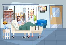 Hospital room interior. Patient lying in the bed stock illustration