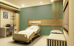 Hospital Room realistic 3D view. The hospital room is designed to give the patients a feeling of homely environment. Use of Green colors relates to nature and Stock Photography