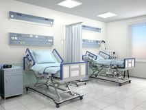 Hospital room with two beds in blue tones. 3d illustration Stock Images