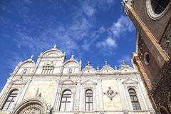 Hospital of San Giovanni e Paolo in Venice. Venice - Scuola Grande di San Marco and partal of Basilica di san Giovanni e Paolo. Church. Facade of the Basilica royalty free stock photography