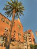 Hospital sant pau exterior with a palm tree. Hospital san pau exterior barcelona spain Stock Image