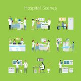 Hospital Scenes and Services Vector Illustration. Hospital scenes and services icons with doctors, nurses and hospital equipment  on green background. Vector Stock Photography