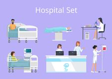 Hospital Set Doctors Patients Vector Illustration. Hospital set doctors and patients activities, nurse with drop-bottle, women at reception and laboratory Royalty Free Stock Image