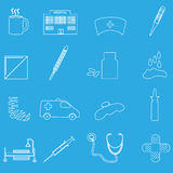 Hospital and sick outline icons set eps10 Stock Photo