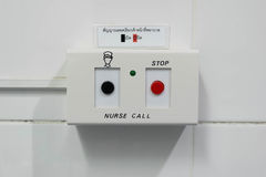 A Hospital Sign for call nurse, Black button is open, Red button. At hospital toilet Stock Photo