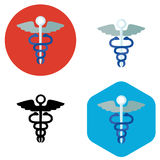Hospital sign icon. Flat icon shows a hospital sign - two snakes entwine stick with wings. Icon also has a version in silhouette Stock Images