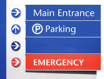 Hospital Signs - Main, Parking,Emergency. Main Entrance, Parking, and Emergency Sign royalty free stock images