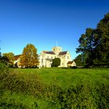 Hospital of St Cross and Almhouses of Noble Poverty, in autumn warm evening sunlight, Winchester, Hampshire, UK stock image