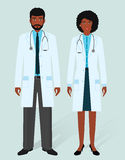 Hospital staff concept. Man and woman african american doctors in medical gowns. Medical people. Flat style vector illustration Stock Photography