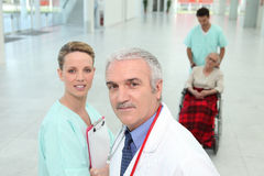 Hospital staff in corridor Royalty Free Stock Photography