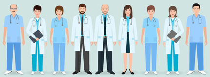 Hospital staff. Group of nine men and women doctors and nurses. Medical people. Stock Photos