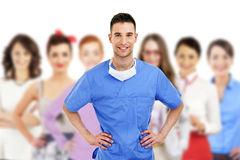 Hospital staff over white background Royalty Free Stock Images