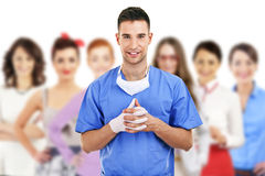 Hospital staff over white background Stock Photography