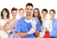 Hospital staff over white backgroundd Stock Photo
