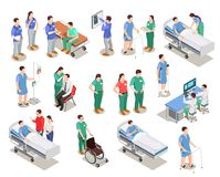 Hospital Staff Patients Isometric People. Hospital staff, doctors and patients, medical examination, clinic equipment, set of isometric people isolated vector royalty free illustration