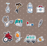 Hospital stickers. Cartoon vector illustration Stock Photography