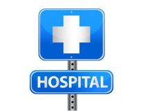 Hospital street sign. On a white background Stock Photos