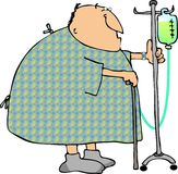 Hospital stroll. This illustration depicts a patient in a hospital gown walking with an IV cart Stock Photos