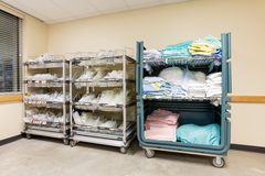 Hospital Supplies Arranged In Trolleys Stock Photo