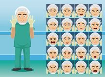 Hospital Surgeon Cartoon Character Emotion faces Stock Photos