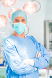Hospital - surgeon doctor in operating room. Hospital - Young male doctor or surgeon in a sterile operating room, theater or clean room of clinic Royalty Free Stock Photography
