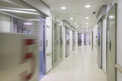 Hospital surgery corridor with rooms. Nobody Royalty Free Stock Images