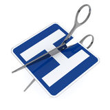 Hospital symbol cut by scissor Stock Photography