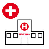 Hospital symbol on white background. Vector illustration Stock Photography