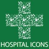 Hospital symbolic. Colorful hospital icons on hospital symbolic Stock Photos