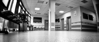 Hospital symmetry. Artistic look in black and white. Stock Photography