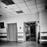 Hospital symmetry. Artistic look in black and white. Royalty Free Stock Photo