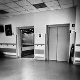 Hospital symmetry. Artistic look in black and white. Stock Image